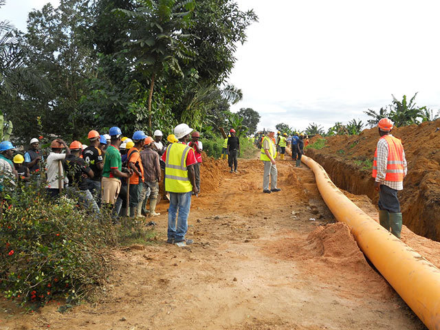 Gas pipeline laid in Douala. Photo by Victoria Oil & Gas