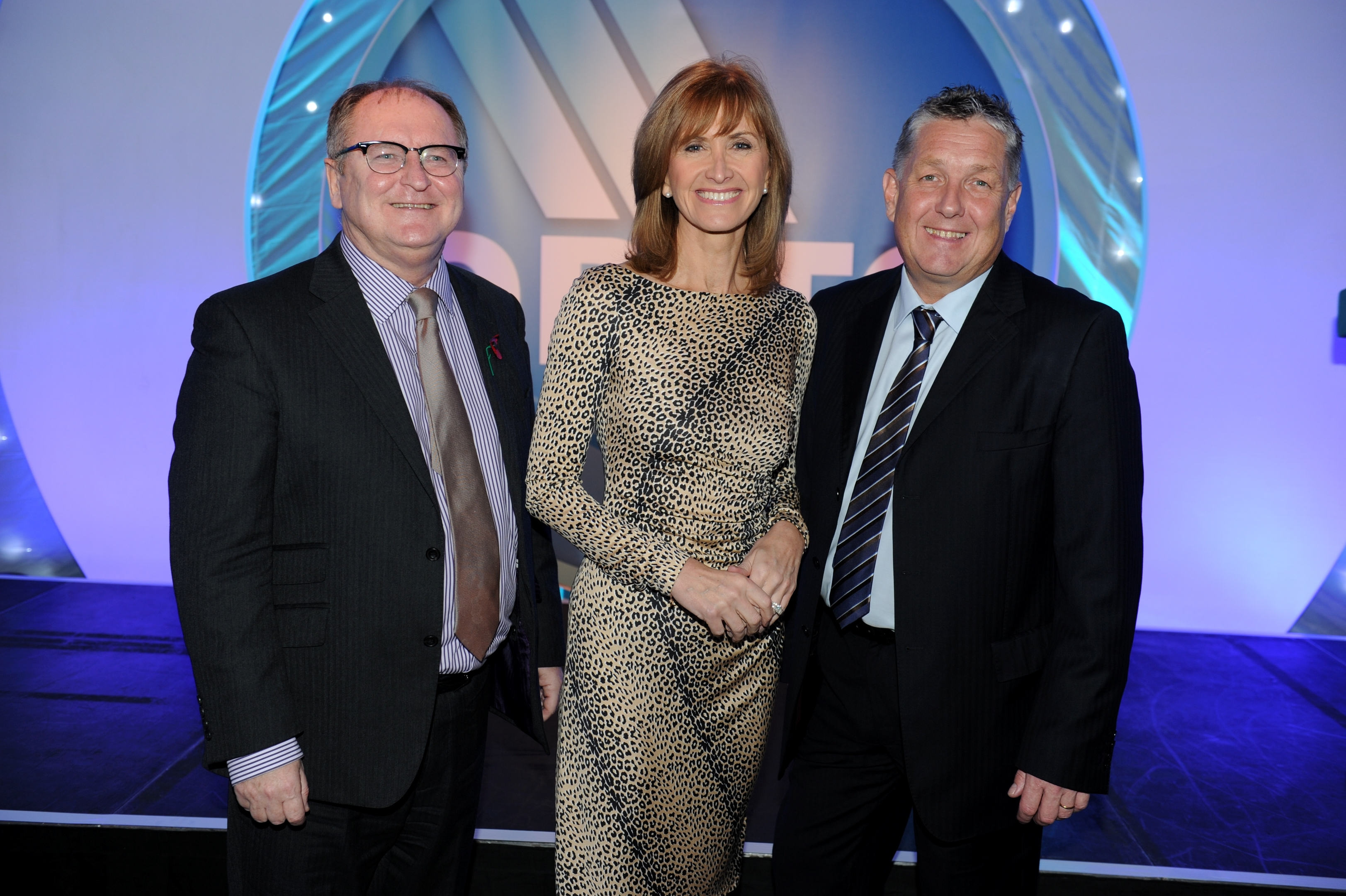 Managing director of Opito, John McDonald with broadcaster Jackie Bird and chief executive David Doig