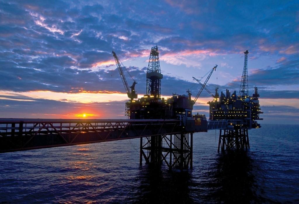 An oil platform.