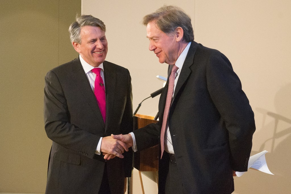 Ben van Beurden, chief executive of Royal Dutch Shell and Andrew Gould, chairman of BG Group