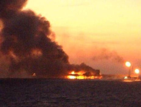 Around 300 people were evacuated from the Pemex platform fire