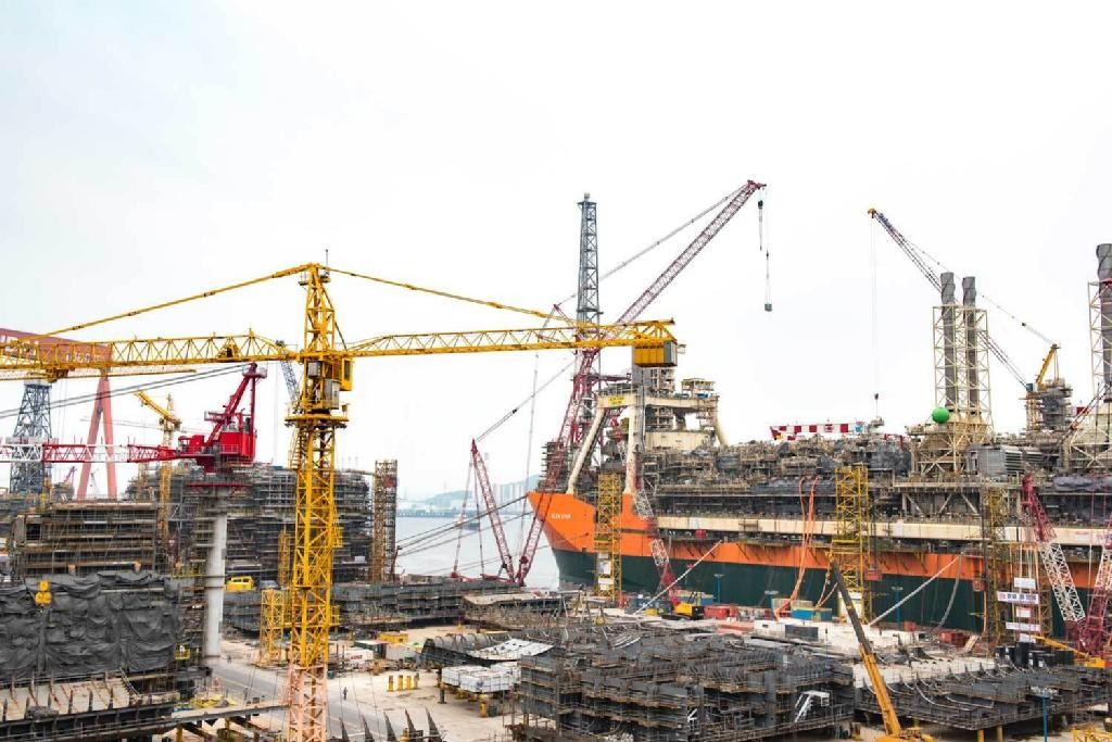 The Glen Lyon FPSO during the construction phase.