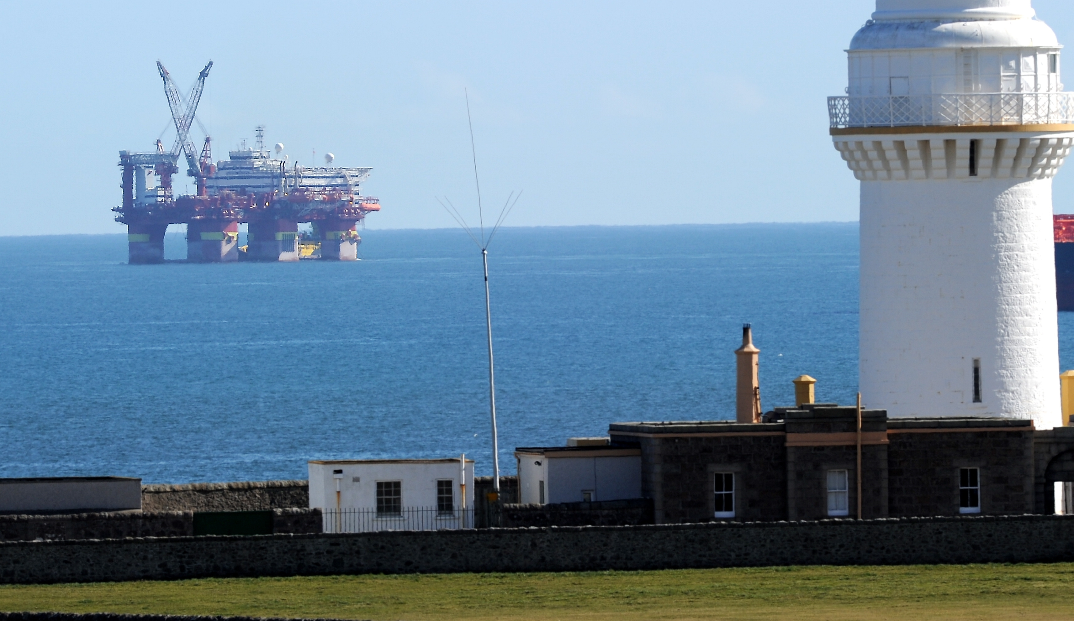 An oil rig waiting outside the harbour in Aberdeen.