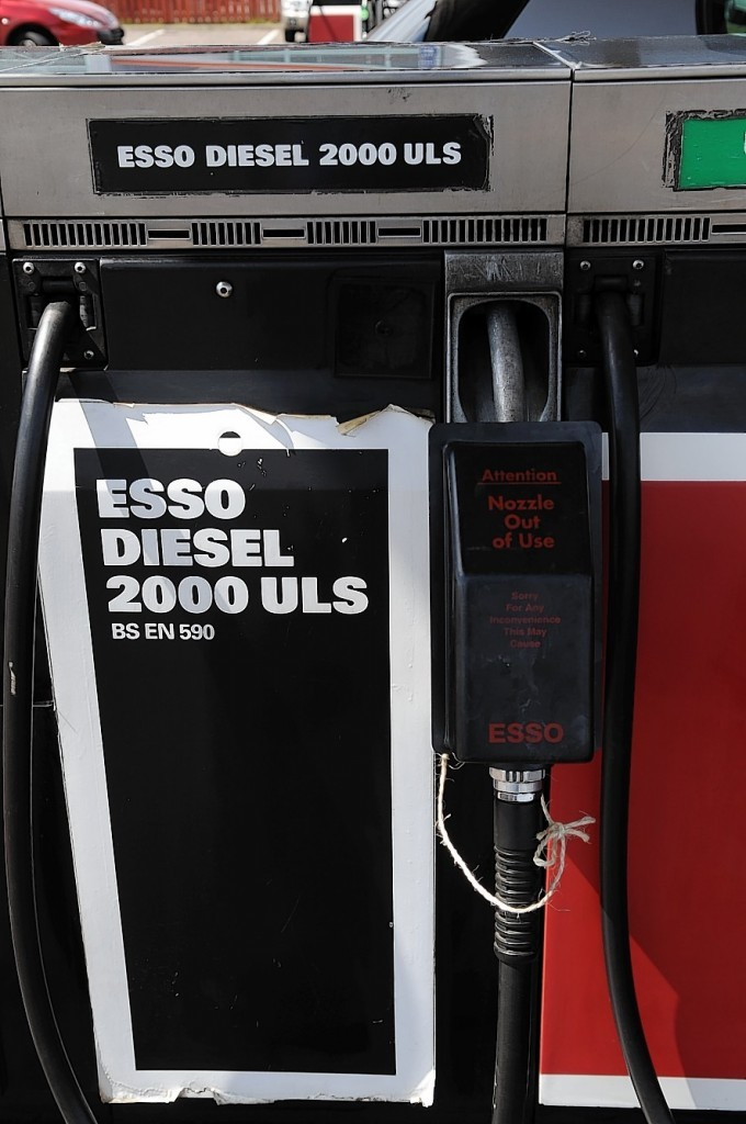 The Esso garage on the Longman Road, Inverness, with a sign 'Sorry No Diesel'.