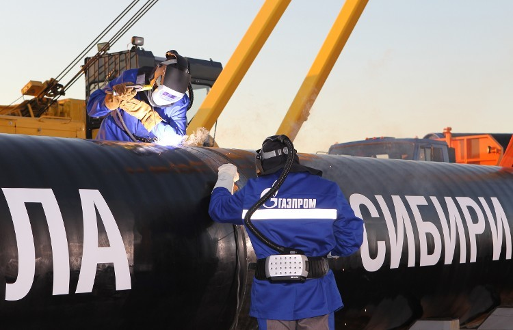 Construction work starts on the Power of Siberia pipeline last September. The pipeline will carry oil to China.