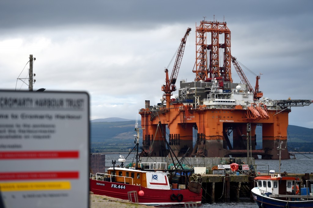 The oil rig, West Phoenix, which has been towed into Cromarty.
