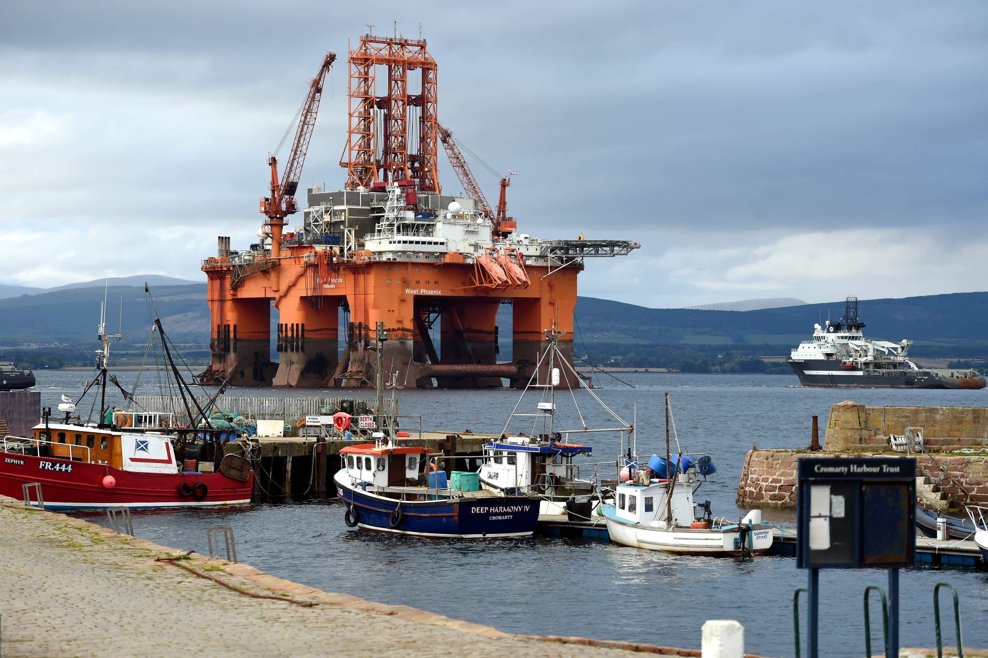 The oil rig, West Phoenix, which has been towed into Cromarty. Picture by Gordon Lennox 19/10/2015