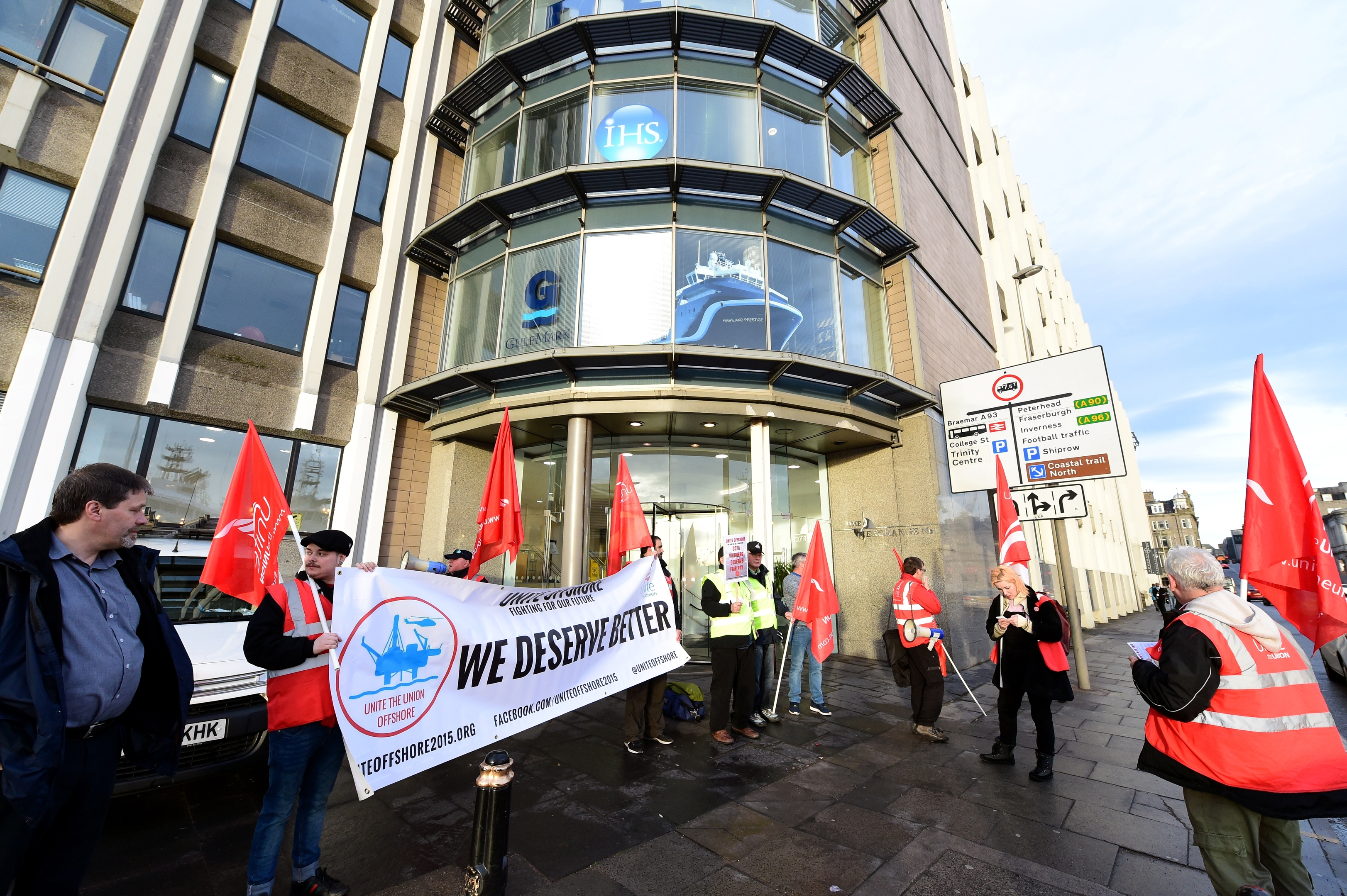 Members of the Unite Union protesting against North Sea catering employers in October 2015.