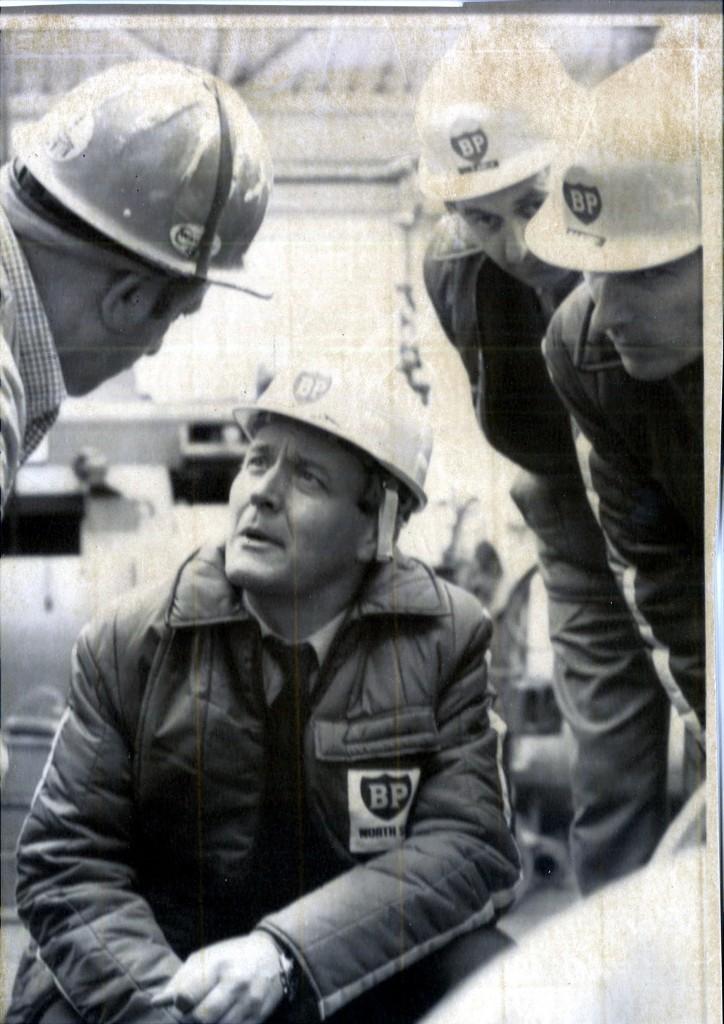 Energy secretary Tony Benn talks to resident engineer Albert Wren (left) on Forties Alpha in July 1975