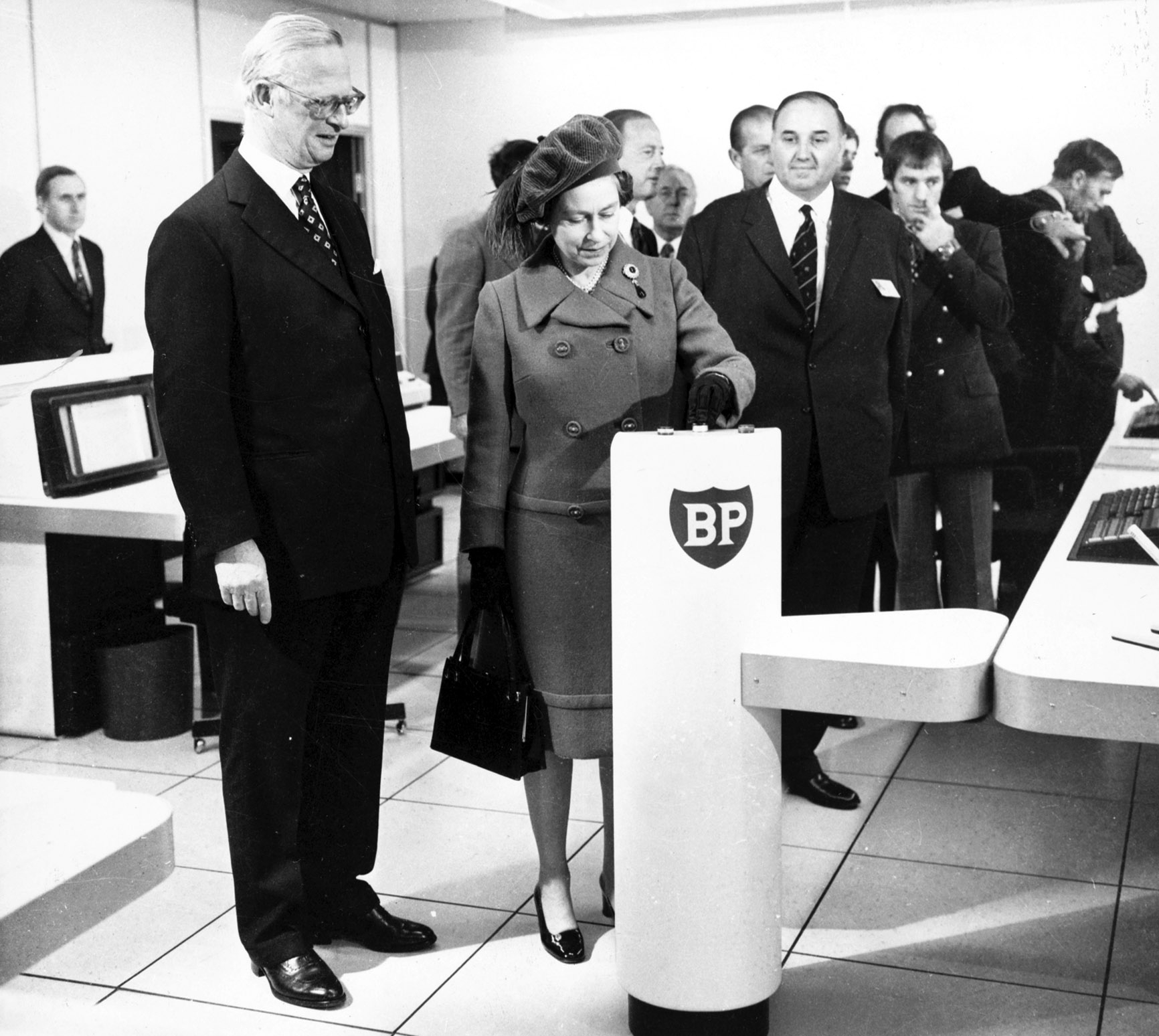 """The Queen at the """"switch-on""""  ceremony where she officially starts the oil flowing from the Forties Field at the BP complex in Dyce. November 3, 1975."""