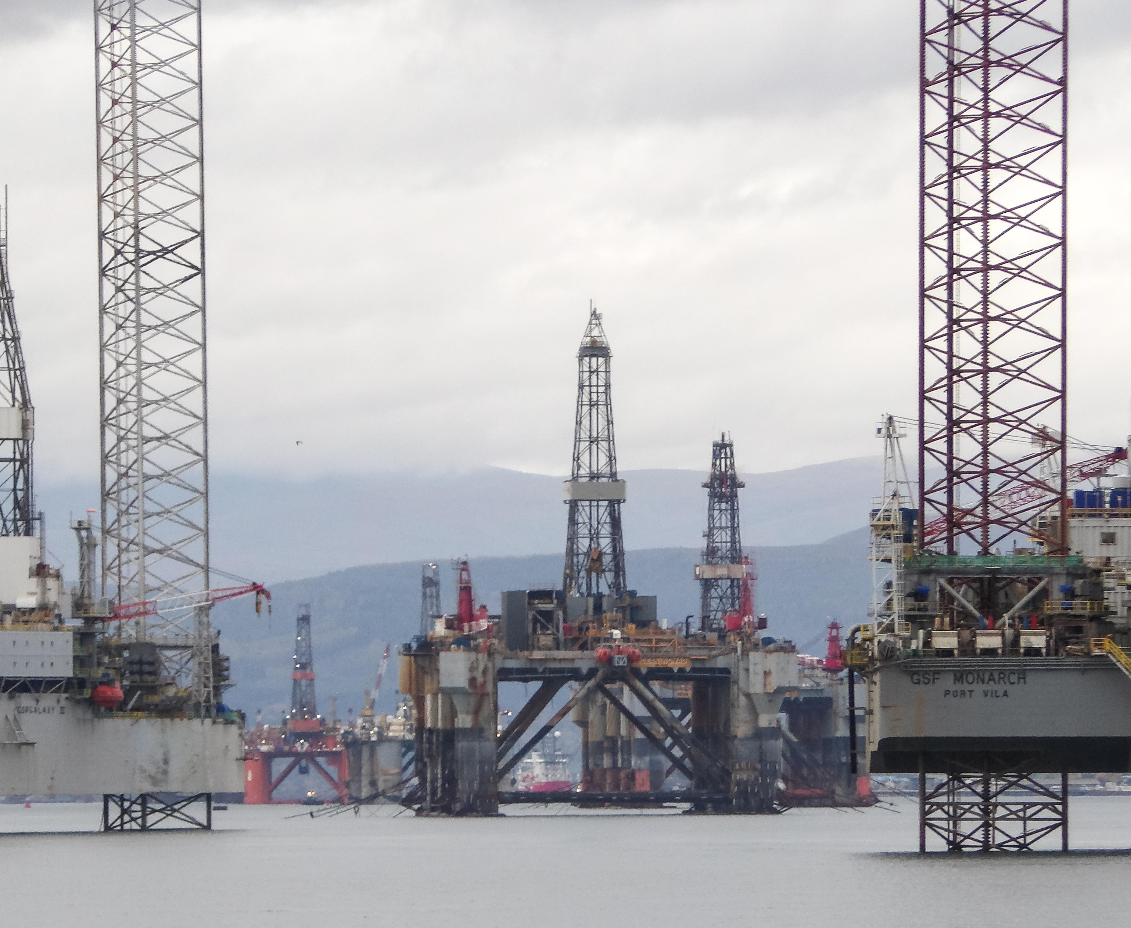 Stacked rigs in the Cromarty Firth
