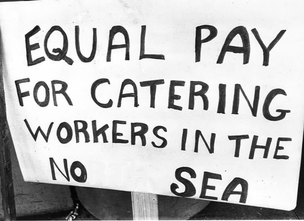 A placard makes the caterers demands in 1979