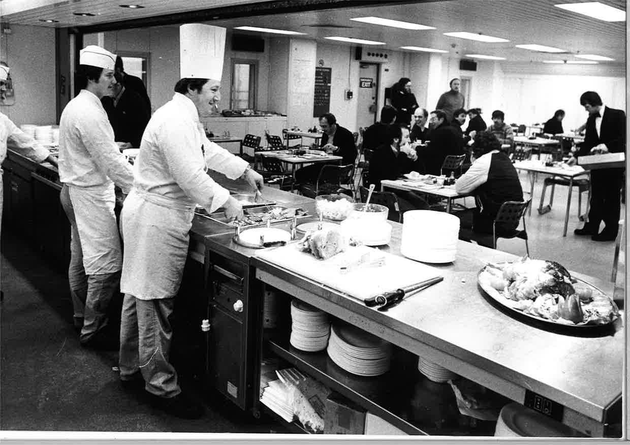 Catering staff providing for offshore workers on the North Cormorant in 1982