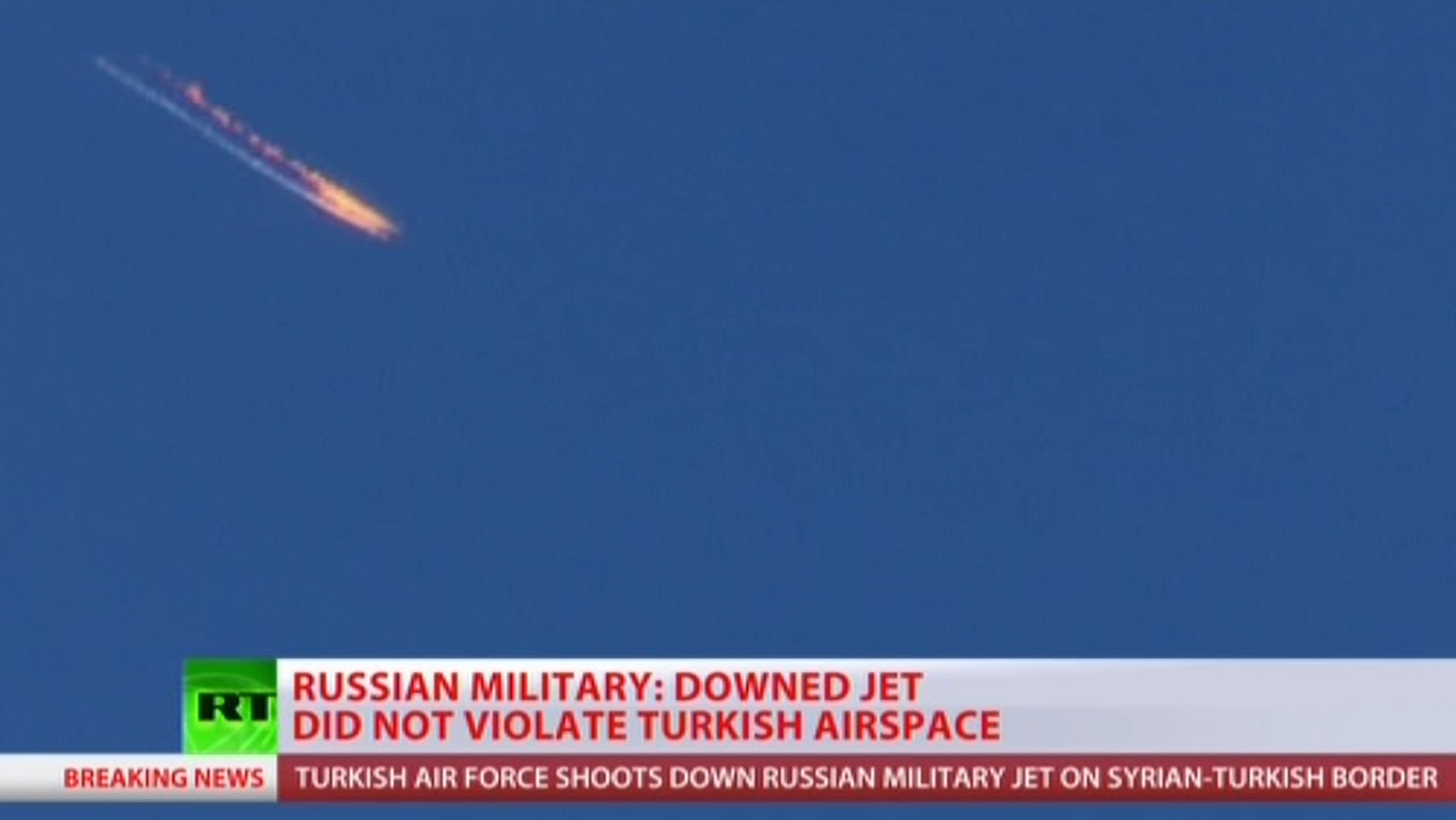 Local TV images after Turkish military shot down a Russian military aircraft on the border with Syria.