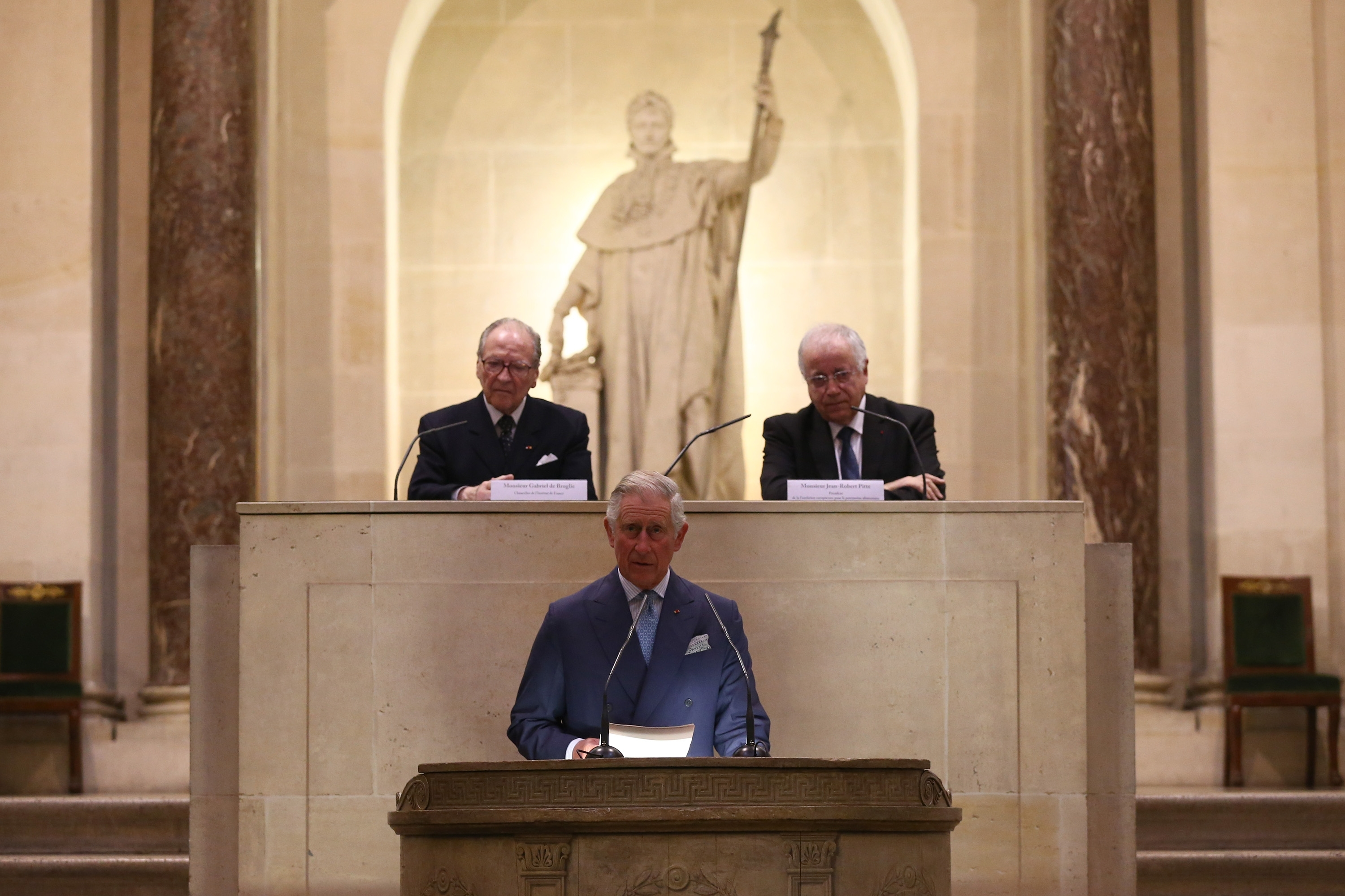 Prince Charles, Prince of Wales speaks during a visit to the Institut De France