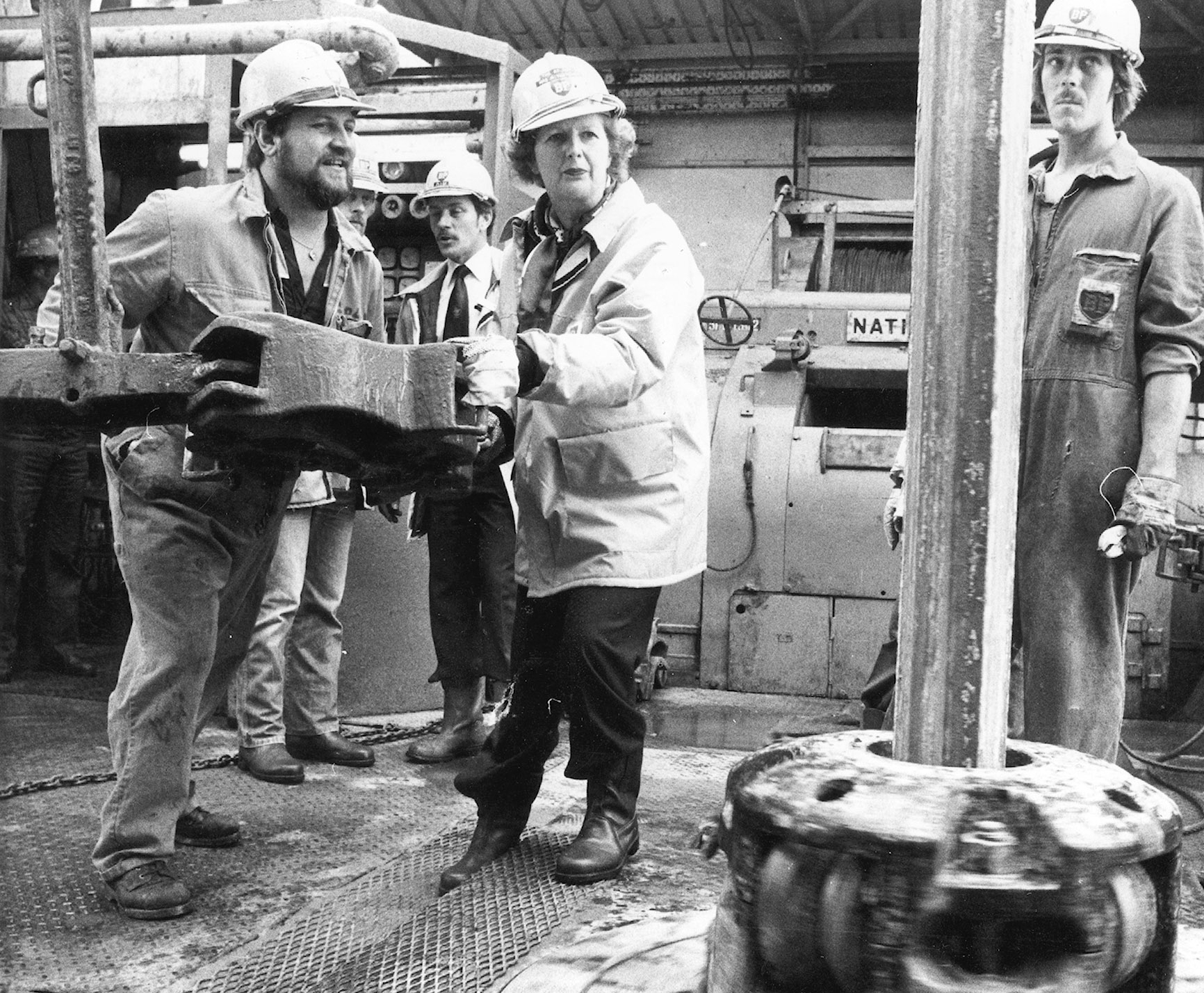 Prime Minister Margaret Thatcher visits the BP Forties oil field. Pictured with toolpusher Colin Murray on the Forties Delta drill floor.
