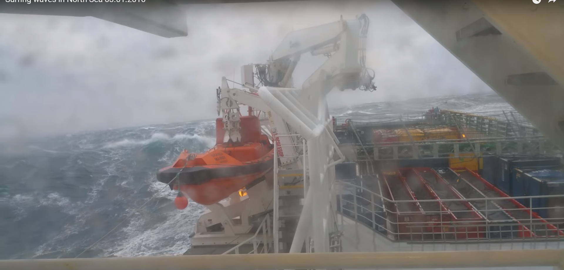 More video has been captured in the North Sea of huge waves