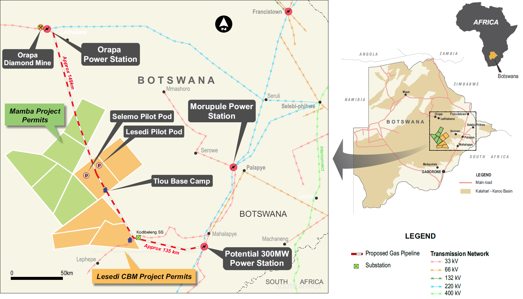 A map of Tlou's operations in Botswana