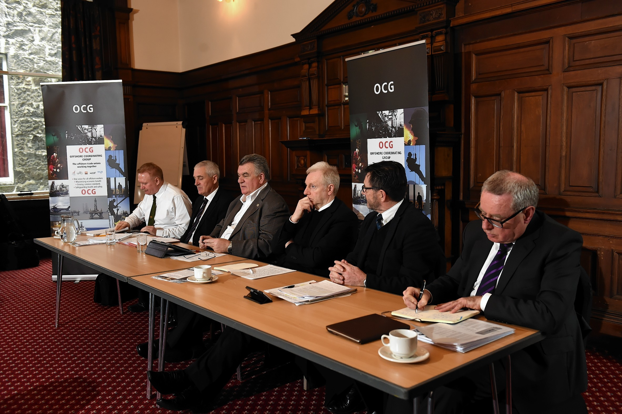 Pictured from left to right at the launch of the Offshore Co-ordinating Group: Alan Ritchie (GMB), Tommy Campbell, Stevie Todd (National Officer), Grahame Smith (STUC General Secretary), Steve Doran (Nautilus International), Jim McAuslan (General Secretary, BALPA).