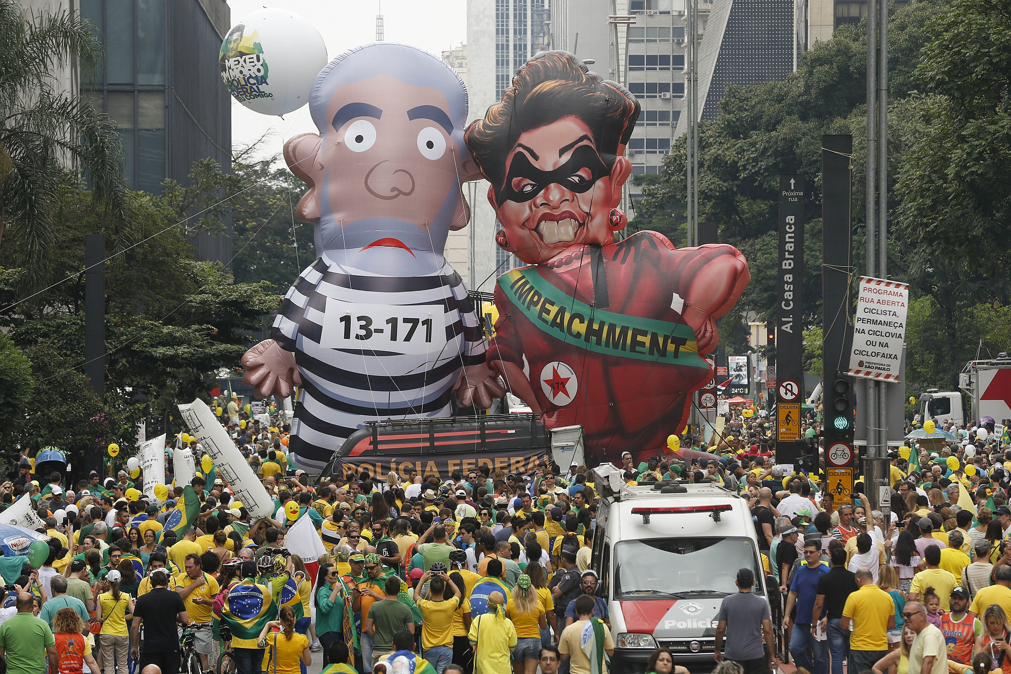 Demonstrators parade in Brazil over political corruption frustrations
