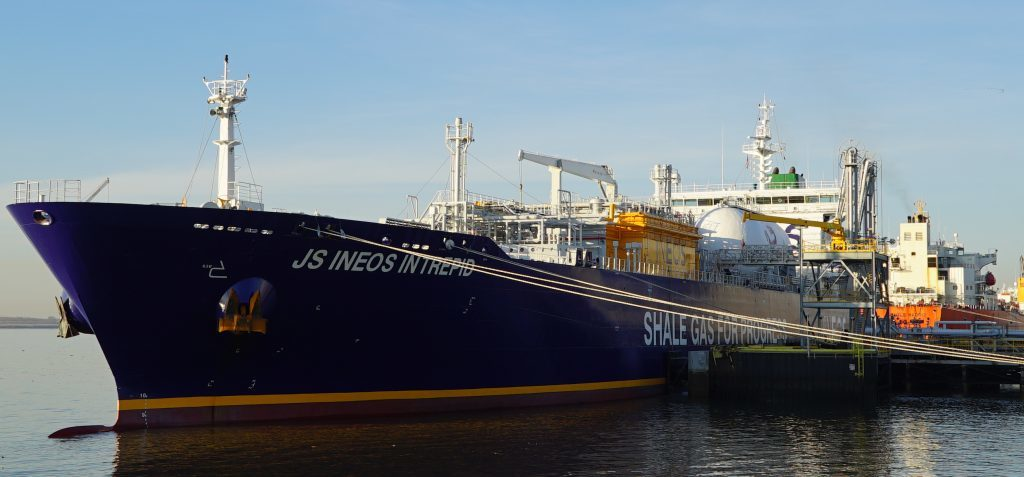 The Ineos Intrepid is carrying the first US shale shipment  to the UK