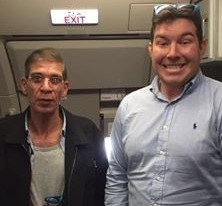 North east oil worker Benjamin Innes with the Egypt Air alleged hijacker wearing fake suicide belt
