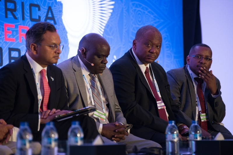 Speakers participating in a panel discussion at the Africa Energy Forum 2015