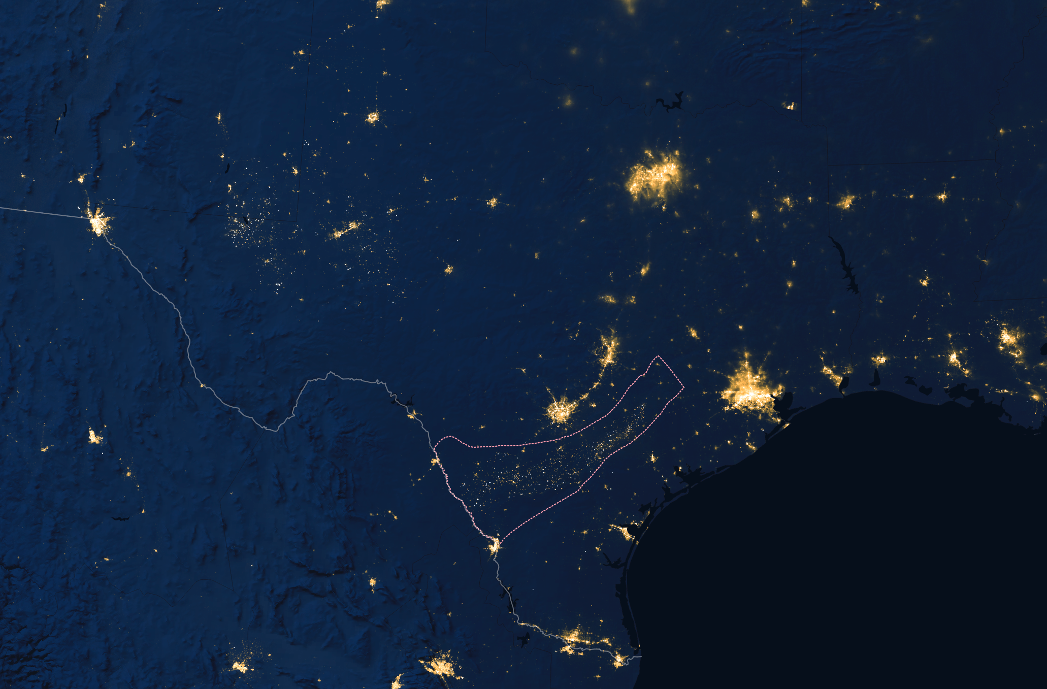 image of the Eagle Ford shale mining site captured at night by NASA's Visible Infrared Imaging Radiometer Suite (VIIRS)