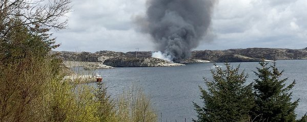 The reported scene off the helicopter crash. Credit NRK.co