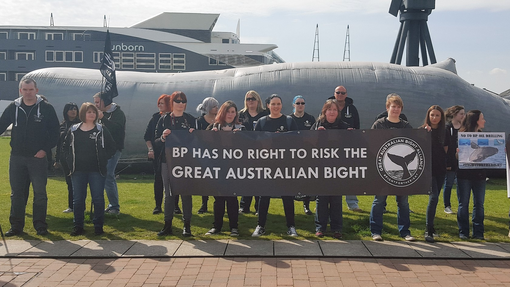 Protesters outside BP's meeting