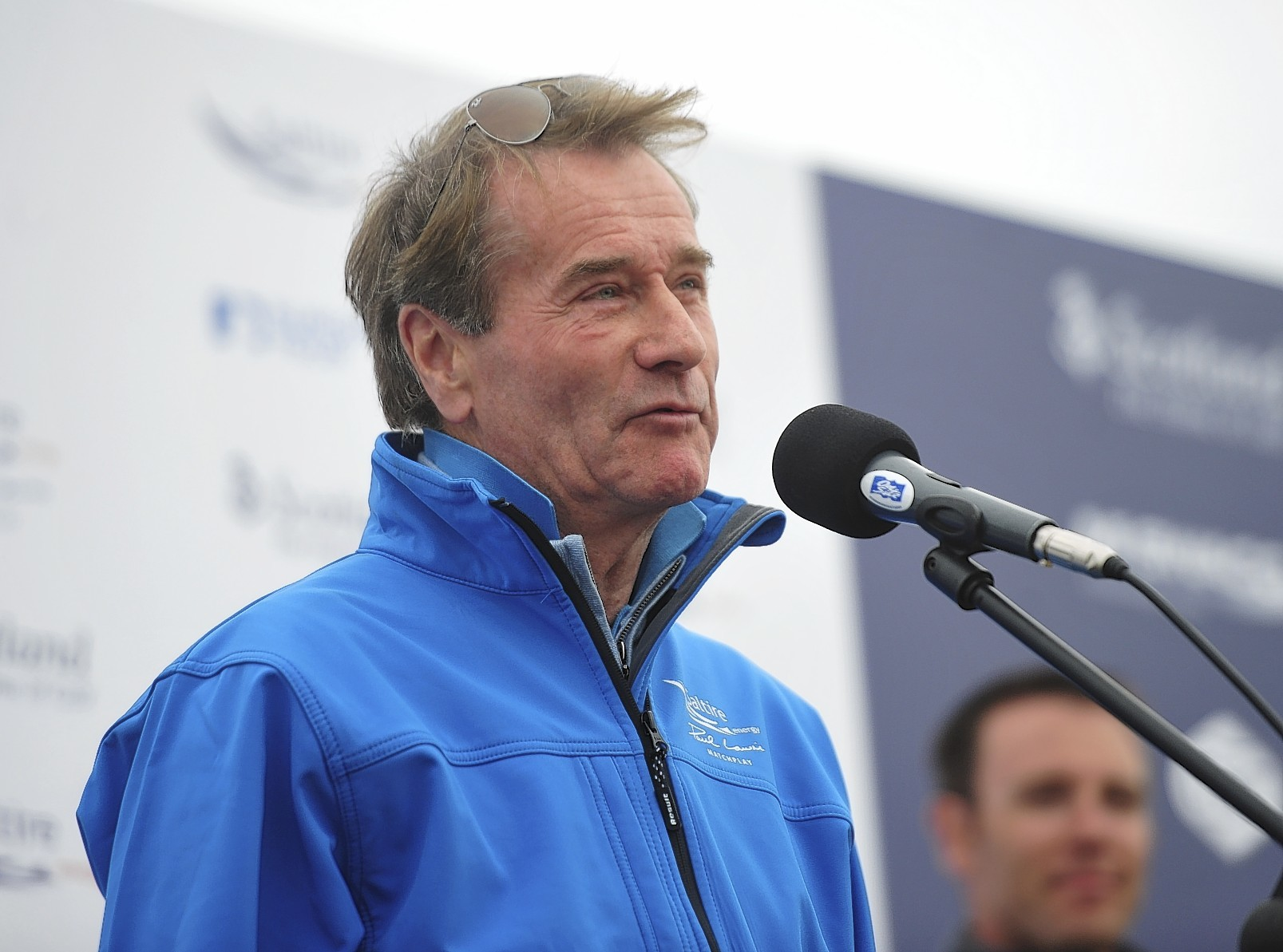 Mike Loggie, chief executive of Saltire Energy, speaking at the Paul Lawrie Tournament final at Murcar Links Golf Course in August 2015.