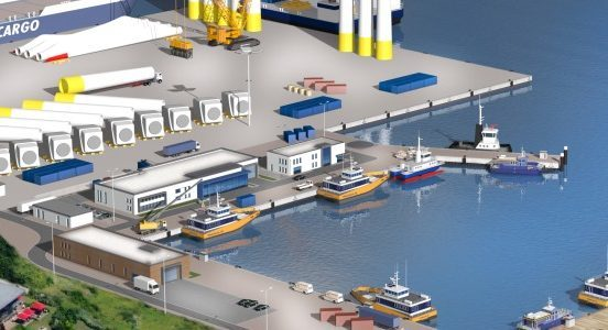 Artist impression of Arkona's logistics base at the Port of Sassnitz, Germany,
