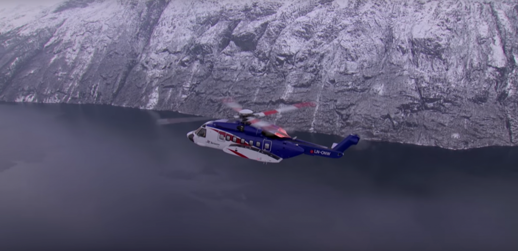 Video: Bristow helicopter flies over the North Sea
