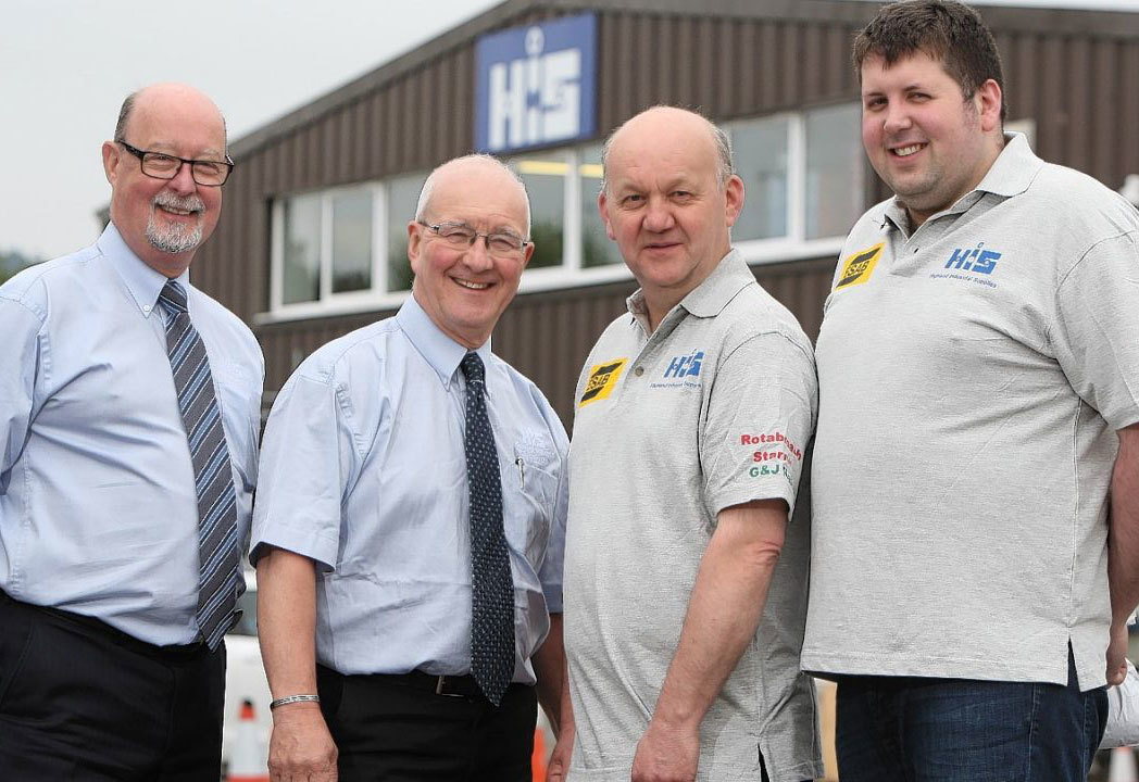 Highland Industrial Supplies welders. Left-to-right: Allan Forrest, welding business development manager. Fergus Ross, welding manager. Alan Clark, welding sales. Cameron Grant, welding sales.