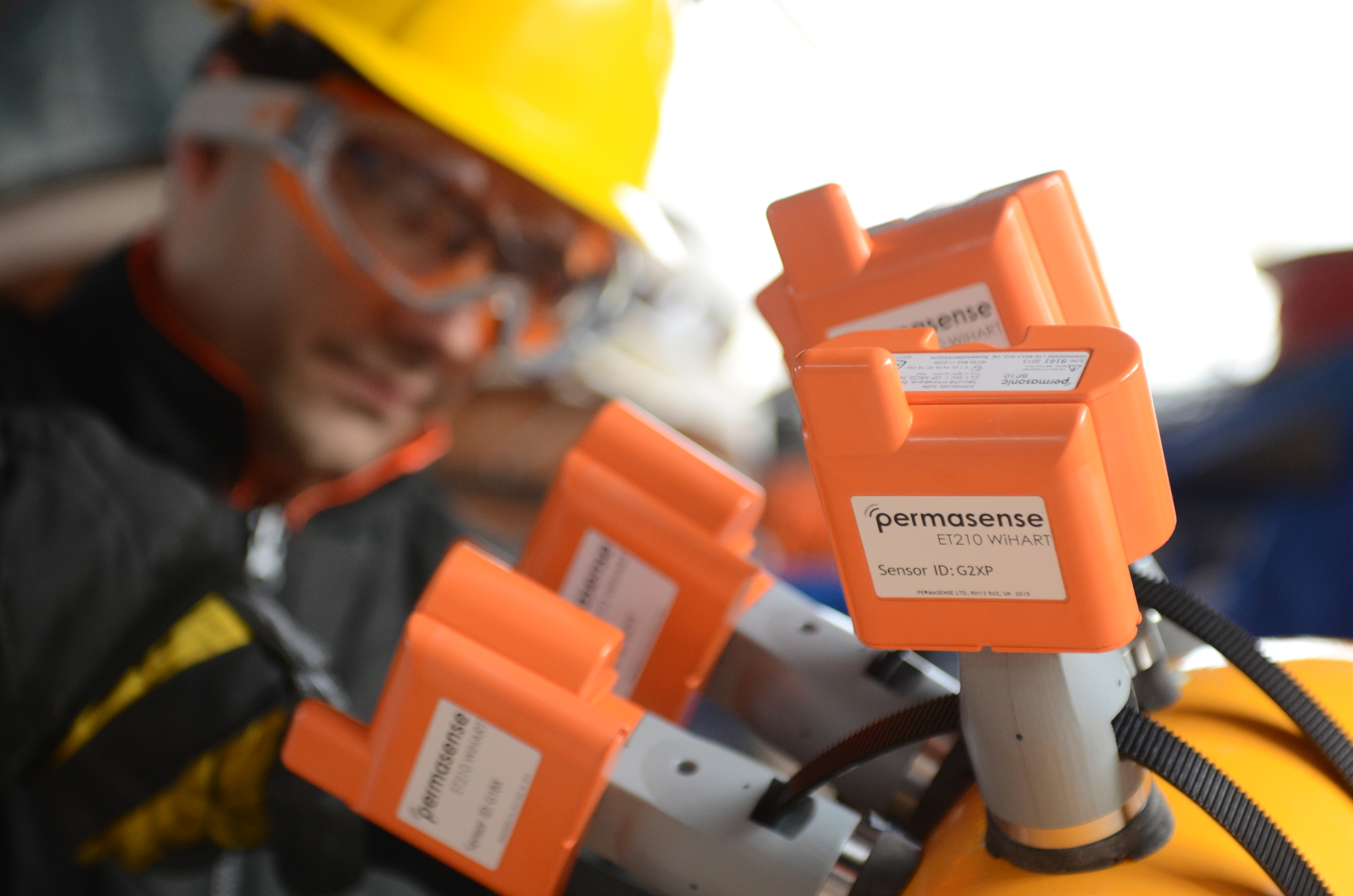 Permasense ET210 sensors on coated pipe