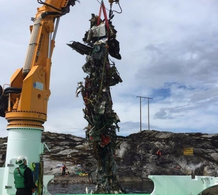 Wreckage of a helicopter which crashed off Norway