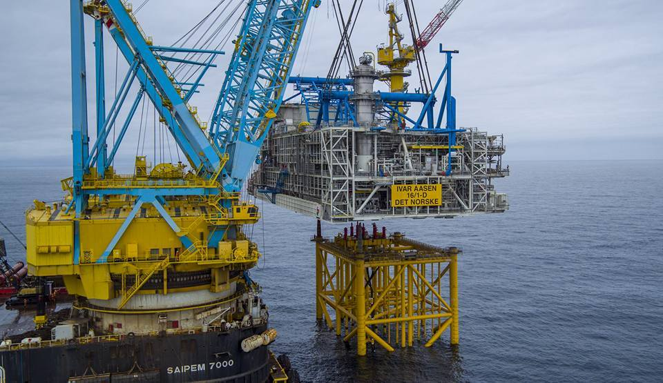 The Ivar Aasen platform being installed
