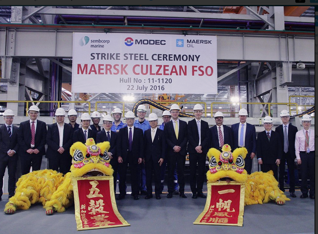 Ceremony held by Maersk Oil for the cutting of first steel on its FSO