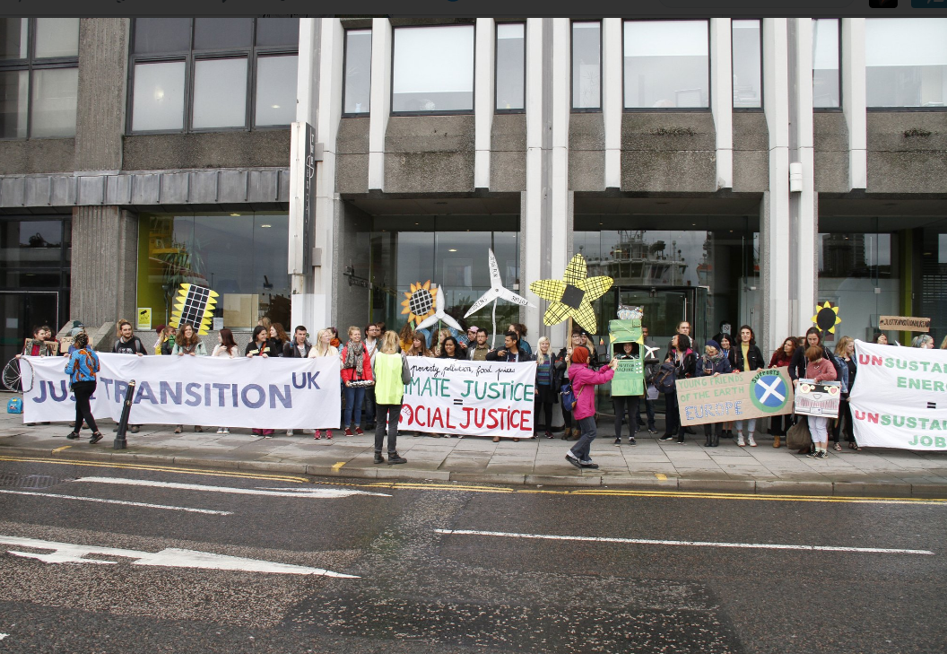 Protesters outside Oil  Gas UK headquarters