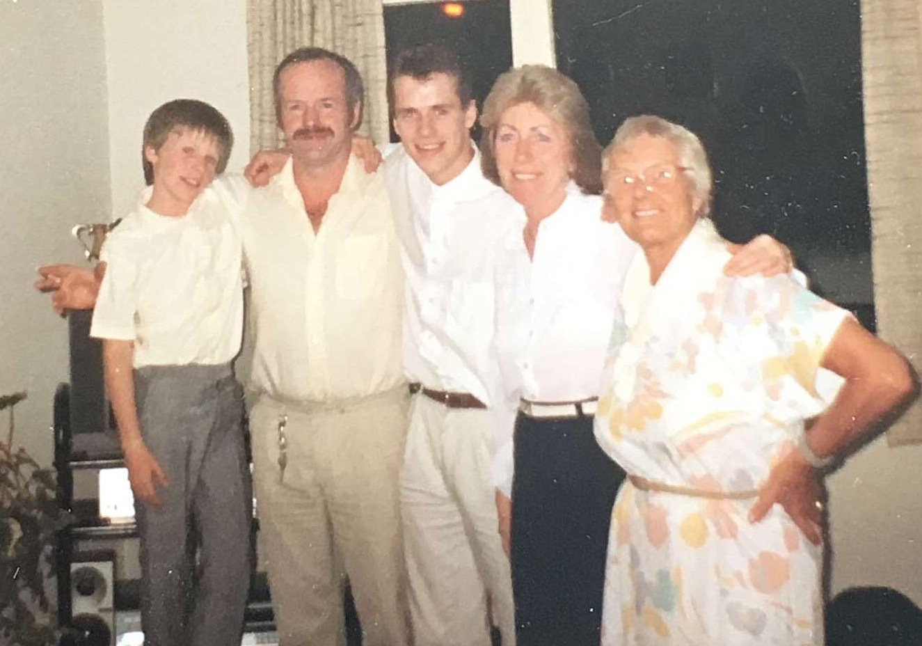 Take on Saturday 2nd July 1988. From left to right; Shane's brother Jamie, his Dad, Shane, his Mum and his Dad's mum Ida on the far right
