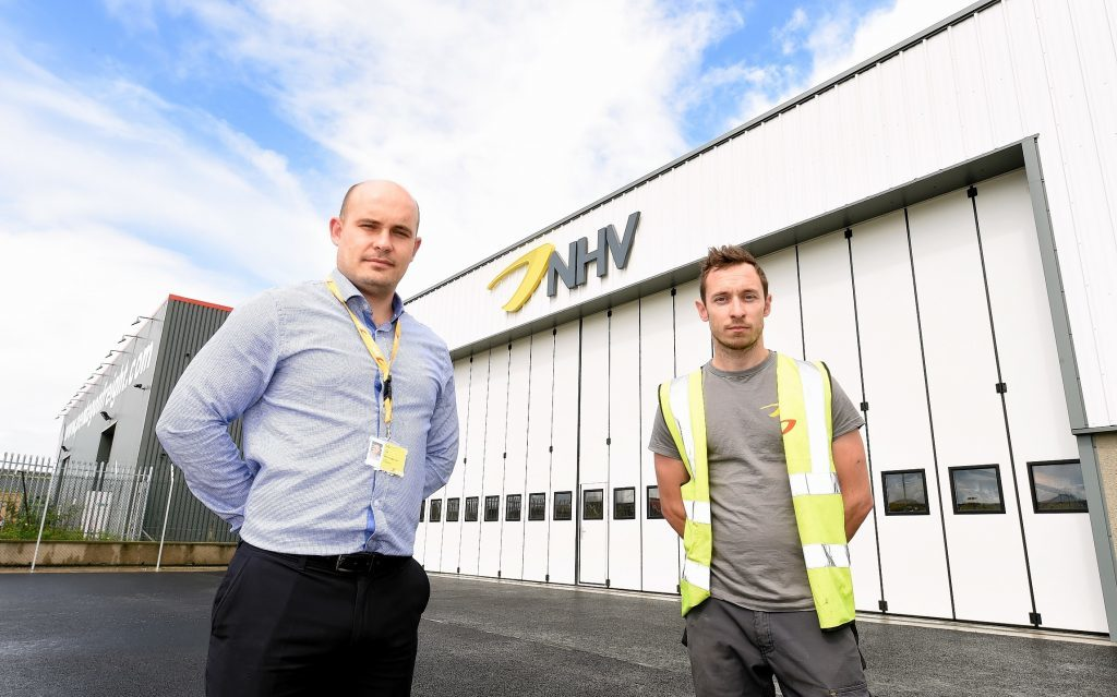 Base manager Jamie John and Adam Stone, chief engineer, outside NHV's premises in Dyce.