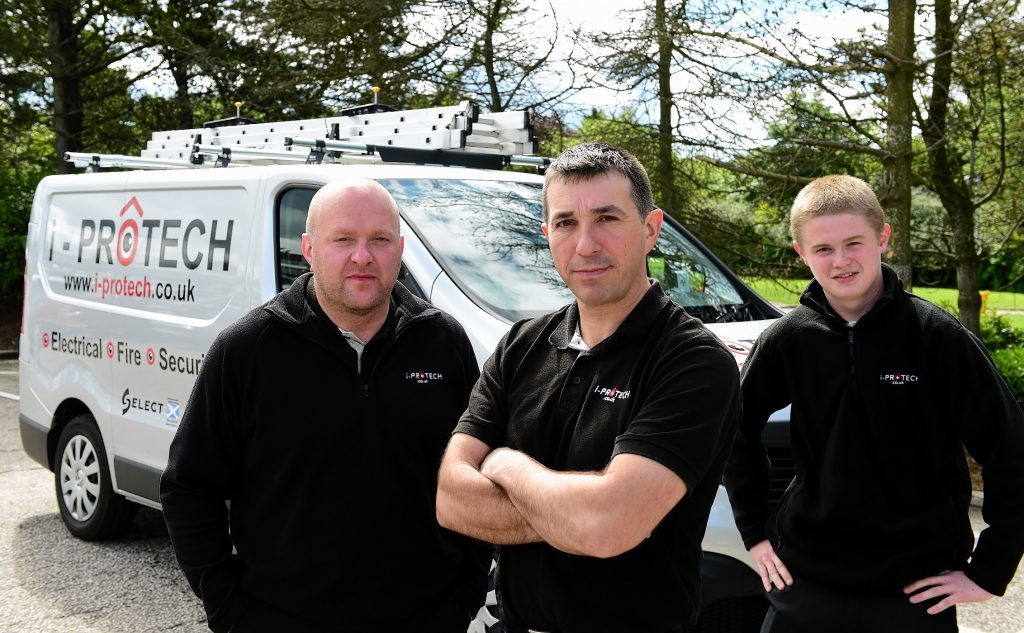 Former oil workers Stuart Munro (left) and Jim Middleton have set up a firm providing electrical and security services called i-Protect.   Also with them is apprentice Ben Thomson (right).
