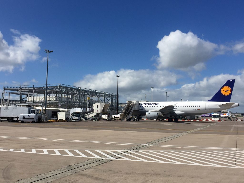 The steel frame of Aberdeen airport's extension