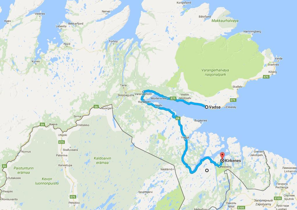 The Vasdo to Kirkenes route by car