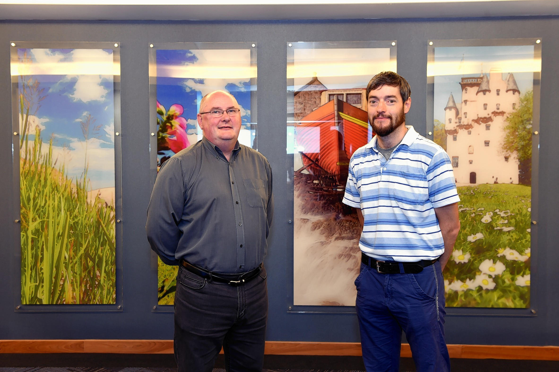 (from left) Ex-oil and gas workers Bob Forsyth and Russell Bolton are retraining for teaching jobs.