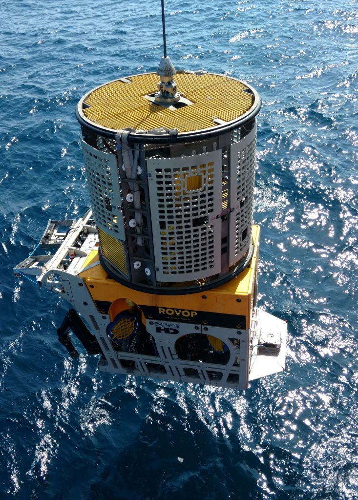 A remotely-operated vehicle being deployed by Rovop