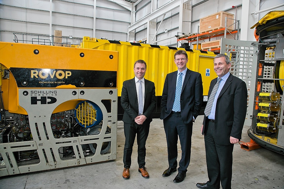 Energy secretary Greg Clark, Steven Gray (ROVOP CEO) and Bill Cattanach (OGA).