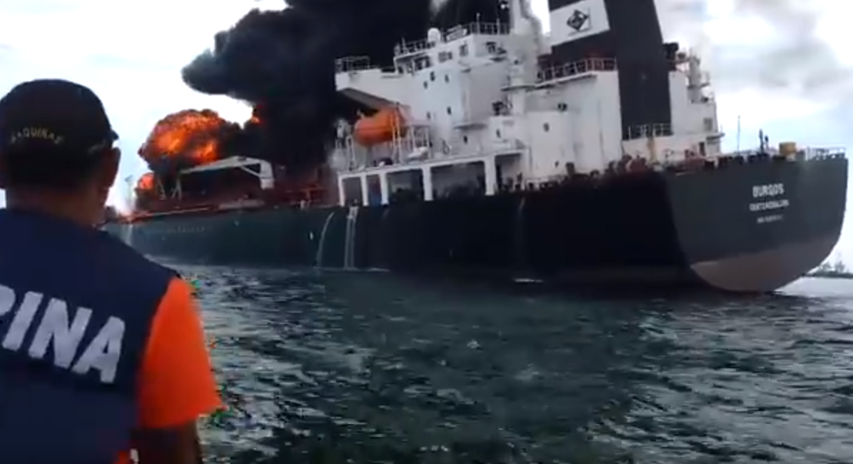 The Burgos oil tanker ablaze in the Gulf of Mexico
