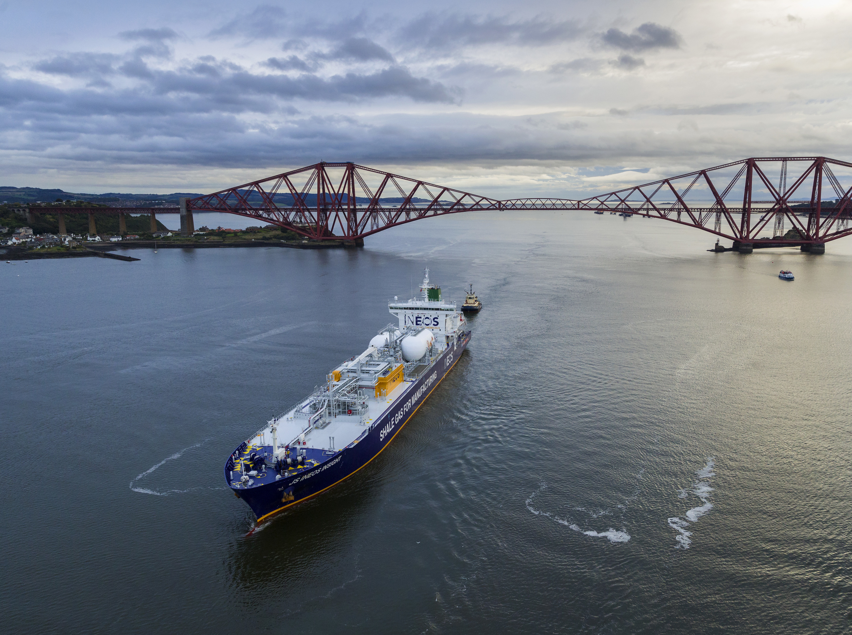 The JS INEOS Insight, laden with US shale gas, sails under the Forth Rail Bridge as it arrives in Scotland before docking at INEOS Grangemouth