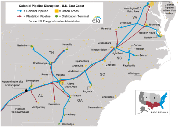 A map showing the Colonial Pipeline's route.